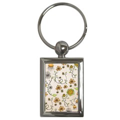 Yellow Whimsical Flowers  Key Chain (rectangle) by Zandiepants