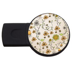 Yellow Whimsical Flowers  2gb Usb Flash Drive (round) by Zandiepants