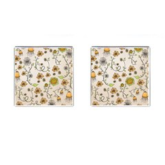 Yellow Whimsical Flowers  Cufflinks (square) by Zandiepants