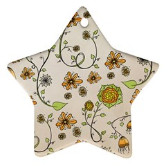 Yellow Whimsical Flowers  Star Ornament (two Sides) by Zandiepants