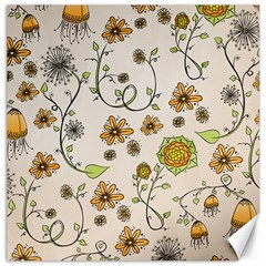 Yellow Whimsical Flowers  Canvas 12  X 12  (unframed) by Zandiepants