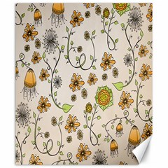 Yellow Whimsical Flowers  Canvas 20  X 24  (unframed) by Zandiepants