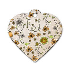 Yellow Whimsical Flowers  Dog Tag Heart (one Sided)  by Zandiepants
