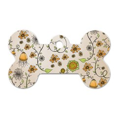 Yellow Whimsical Flowers  Dog Tag Bone (one Sided) by Zandiepants