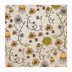 Yellow Whimsical Flowers  Glasses Cloth (medium, Two Sided) by Zandiepants