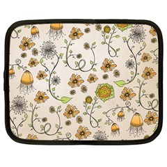 Yellow Whimsical Flowers  Netbook Sleeve (large) by Zandiepants