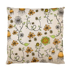 Yellow Whimsical Flowers  Cushion Case (two Sided)  by Zandiepants