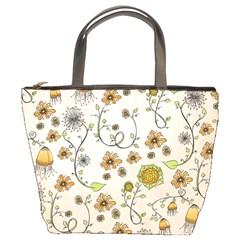 Yellow Whimsical Flowers  Bucket Handbag