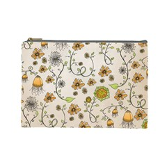 Yellow Whimsical Flowers  Cosmetic Bag (large) by Zandiepants