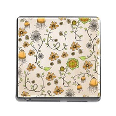 Yellow Whimsical Flowers  Memory Card Reader With Storage (square) by Zandiepants