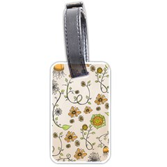 Yellow Whimsical Flowers  Luggage Tag (two Sides) by Zandiepants