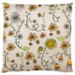 Yellow Whimsical Flowers  Large Cushion Case (Single Sided)  Front
