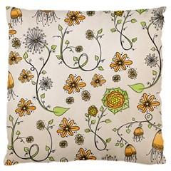 Yellow Whimsical Flowers  Large Cushion Case (two Sided)  by Zandiepants