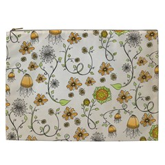 Yellow Whimsical Flowers  Cosmetic Bag (xxl)
