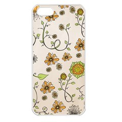 Yellow Whimsical Flowers  Apple Iphone 5 Seamless Case (white) by Zandiepants