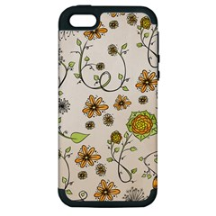 Yellow Whimsical Flowers  Apple Iphone 5 Hardshell Case (pc+silicone) by Zandiepants