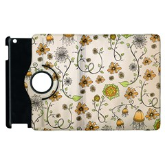 Yellow Whimsical Flowers  Apple Ipad 3/4 Flip 360 Case by Zandiepants