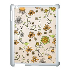 Yellow Whimsical Flowers  Apple Ipad 3/4 Case (white) by Zandiepants