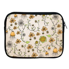 Yellow Whimsical Flowers  Apple Ipad Zippered Sleeve by Zandiepants