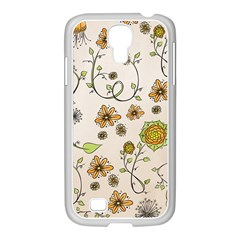 Yellow Whimsical Flowers  Samsung Galaxy S4 I9500/ I9505 Case (white) by Zandiepants