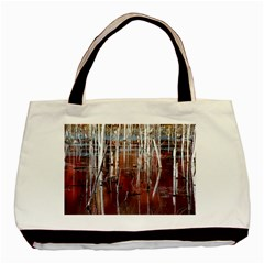Automn Swamp Twin Sided Black Tote Bag by cgar