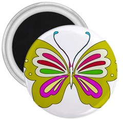 Color Butterfly  3  Button Magnet by Colorfulart23