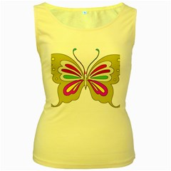 Color Butterfly  Women s Tank Top (Yellow)