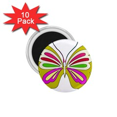 Color Butterfly  1.75  Button Magnet (10 pack)