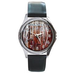 Swamp2 Filtered Round Leather Watch (silver Rim) by cgar