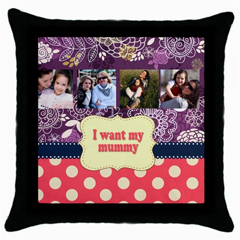 Mothers Day By Mom   Throw Pillow Case (black)   4xed9dn30ank   Www Artscow Com Front