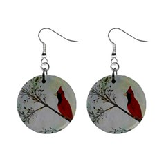 Sweet Red Cardinal Mini Button Earrings