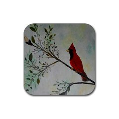 Sweet Red Cardinal Drink Coaster (square) by rokinronda