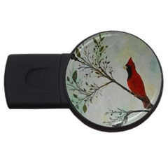Sweet Red Cardinal 4gb Usb Flash Drive (round) by rokinronda