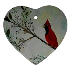 Sweet Red Cardinal Heart Ornament (two Sides) by rokinronda