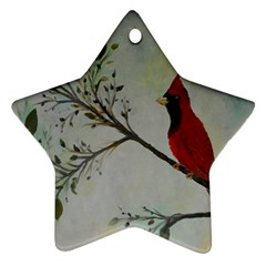 Sweet Red Cardinal Star Ornament (two Sides) by rokinronda