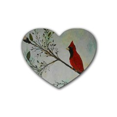 Sweet Red Cardinal Drink Coasters 4 Pack (heart)  by rokinronda