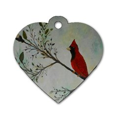 Sweet Red Cardinal Dog Tag Heart (two Sided) by rokinronda