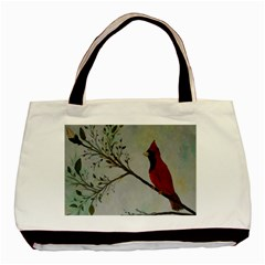 Sweet Red Cardinal Twin Sided Black Tote Bag by rokinronda