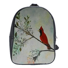 Sweet Red Cardinal School Bag (large) by rokinronda