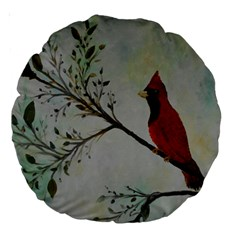 Sweet Red Cardinal 18  Premium Round Cushion  by rokinronda