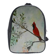 Sweet Red Cardinal School Bag (xl) by rokinronda
