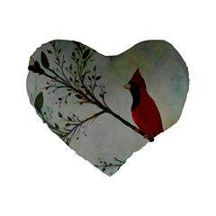 Sweet Red Cardinal 16  Premium Heart Shape Cushion  by rokinronda