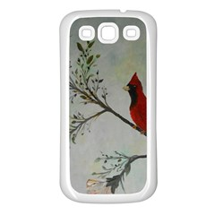 Sweet Red Cardinal Samsung Galaxy S3 Back Case (white) by rokinronda