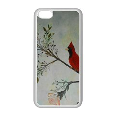 Sweet Red Cardinal Apple Iphone 5c Seamless Case (white) by rokinronda