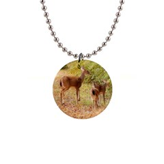 Deer In Nature Button Necklace