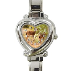 Deer In Nature Heart Italian Charm Watch  by uniquedesignsbycassie