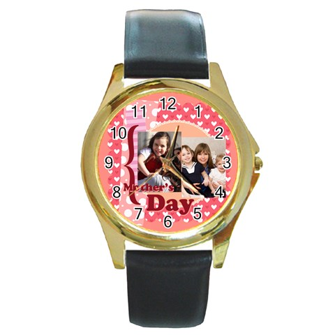 Mothers Day By Mom   Round Gold Metal Watch   Wsgl1a9gs9ha   Www Artscow Com Front