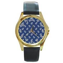 Boat Anchors Round Leather Watch (gold Rim)  by StuffOrSomething