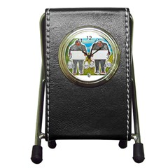 2 Big Foot Text In Everglades Stationery Holder Clock by creationtruth