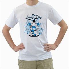 The Lucky Dog Men s T Shirt (white)  by Contest1771648